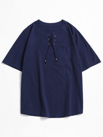 T-shirt Simple Cranté à Lacets Avec Poche - Bleu Profond 3xl