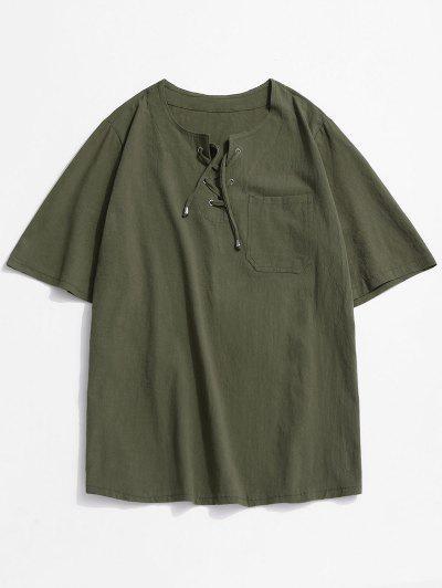 Notched Lace-up Pocket Plain T-shirt - Deep Green 3xl