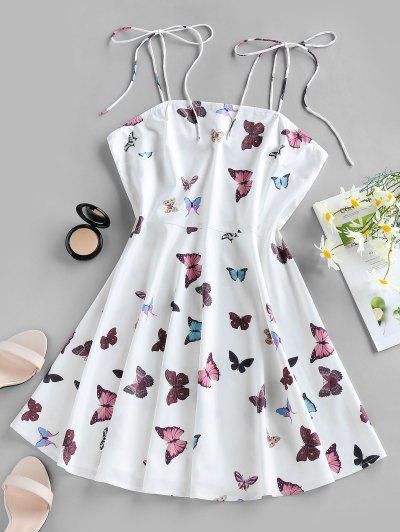 ZAFUL Butterfly Print Tie Shoulder Backless Mini Dress - White M