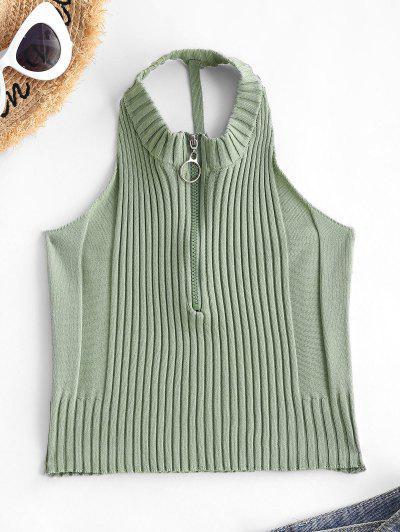 Pull Ring Zip Cutout Crop Knit Tank Top - Light Green