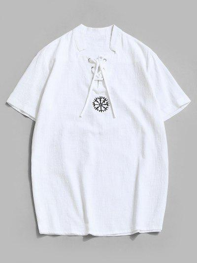 Fork Embroidered Side Slit Lace-up T-shirt - White 4xl