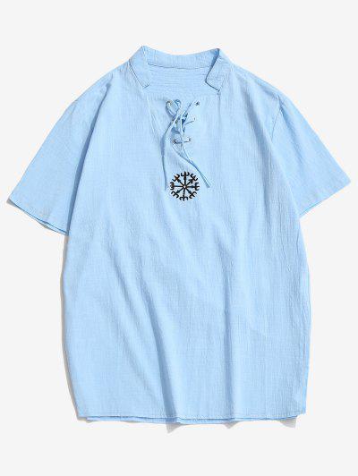 Fork Embroidered Side Slit Lace-up T-shirt - Light Blue M
