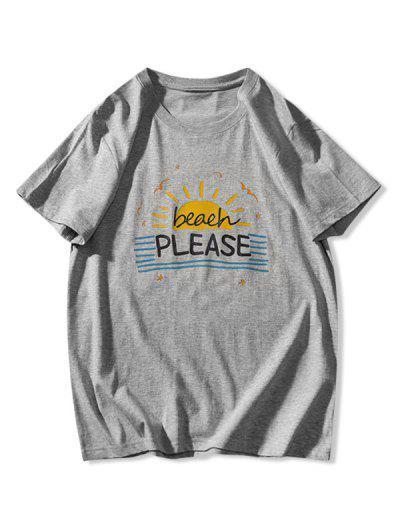 ビーチ日グラフィックストライプTシャツ - グレー L
