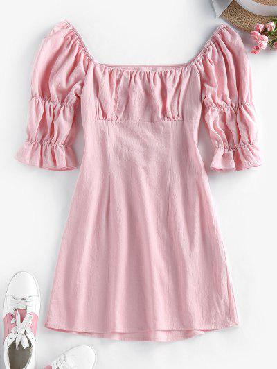 ZAFUL Puff Sleeve Cutout Mini Milkmaid Dress - Pink M