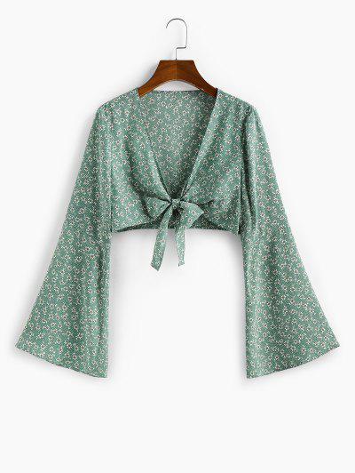 ZAFUL Ditsy Print Flare Sleeve Plunging Crop Blouse - Cyan Opaque M