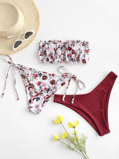 ZAFUL Floral Frilled Bandeau Three Piece Swimsuit - Red Wine S