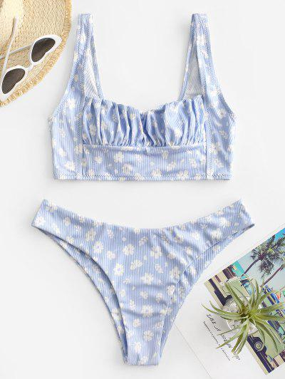 ZAFUL Square Floral Ruched Ribbed Bikini Swimwear - Light Blue L