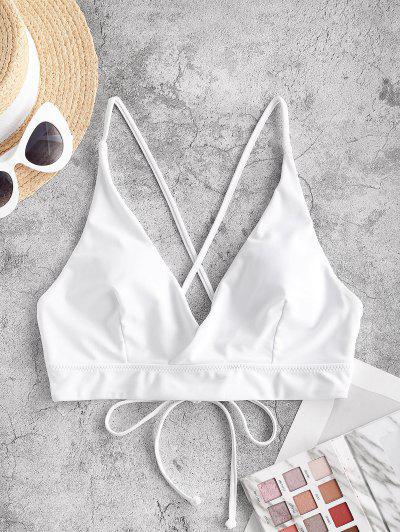 ZAFUL Lace Up Back Criss Cross Bikini Top - White S