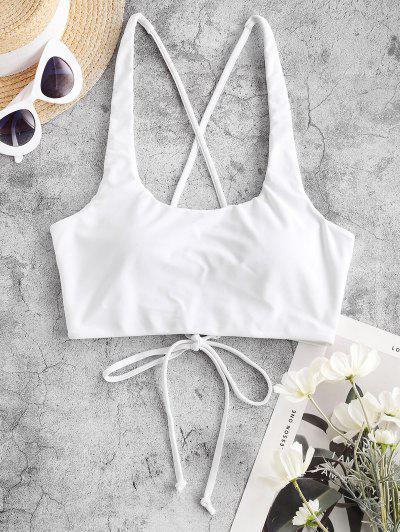 ZAFUL Cross Back U Neck Crop Bikini Top - White M