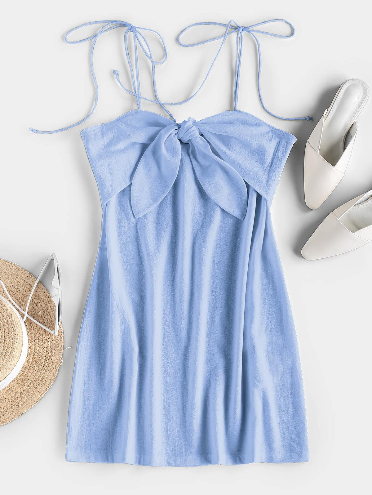 ZAFUL Tie Shoulder Knotted Cami Mini Dress