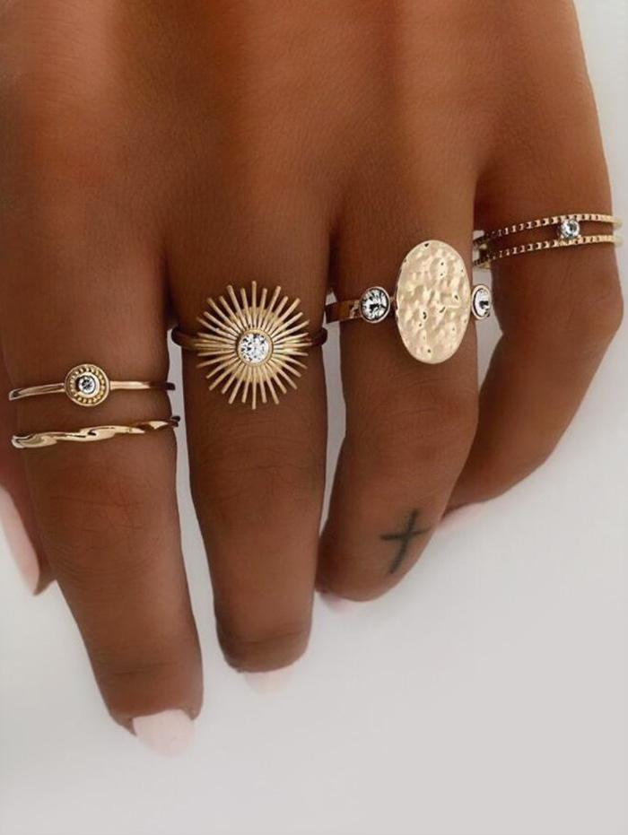 Rhinestone Sun Oval Shape Rings Set