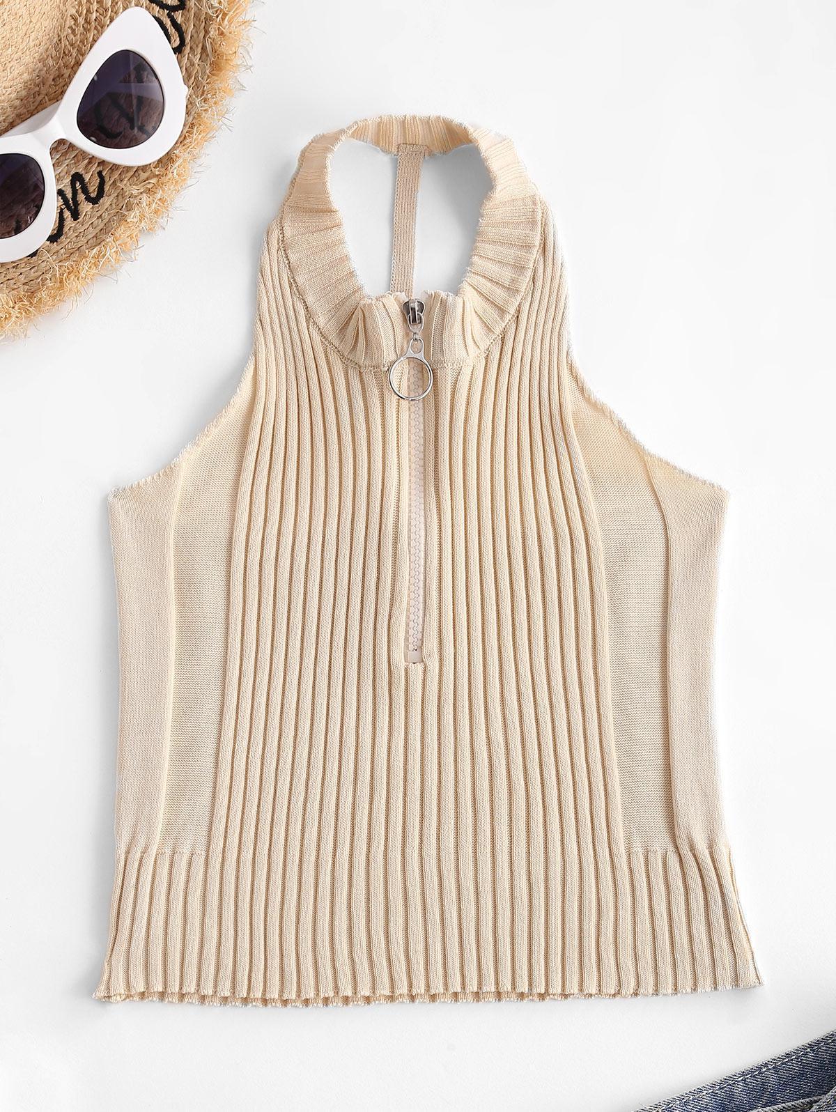 Pull Ring Zip Cutout Crop Knit Tank Top