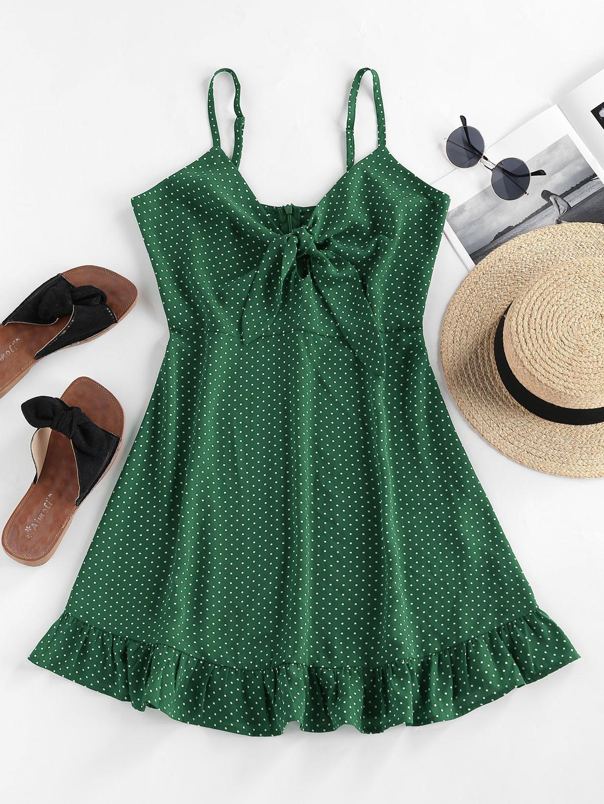 ZAFUL Ditsy Polka Dot Ruffle Knotted Dress