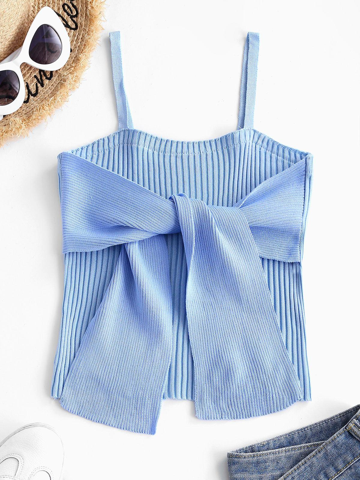 Colorblock Ribbed Bowknot Cami Tank Top