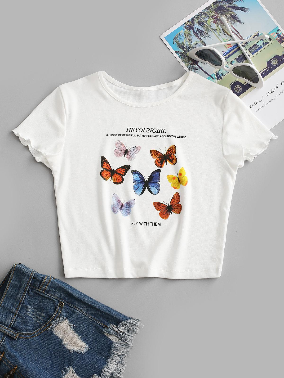 FLY WITH THEM Butterfly Cropped Tee
