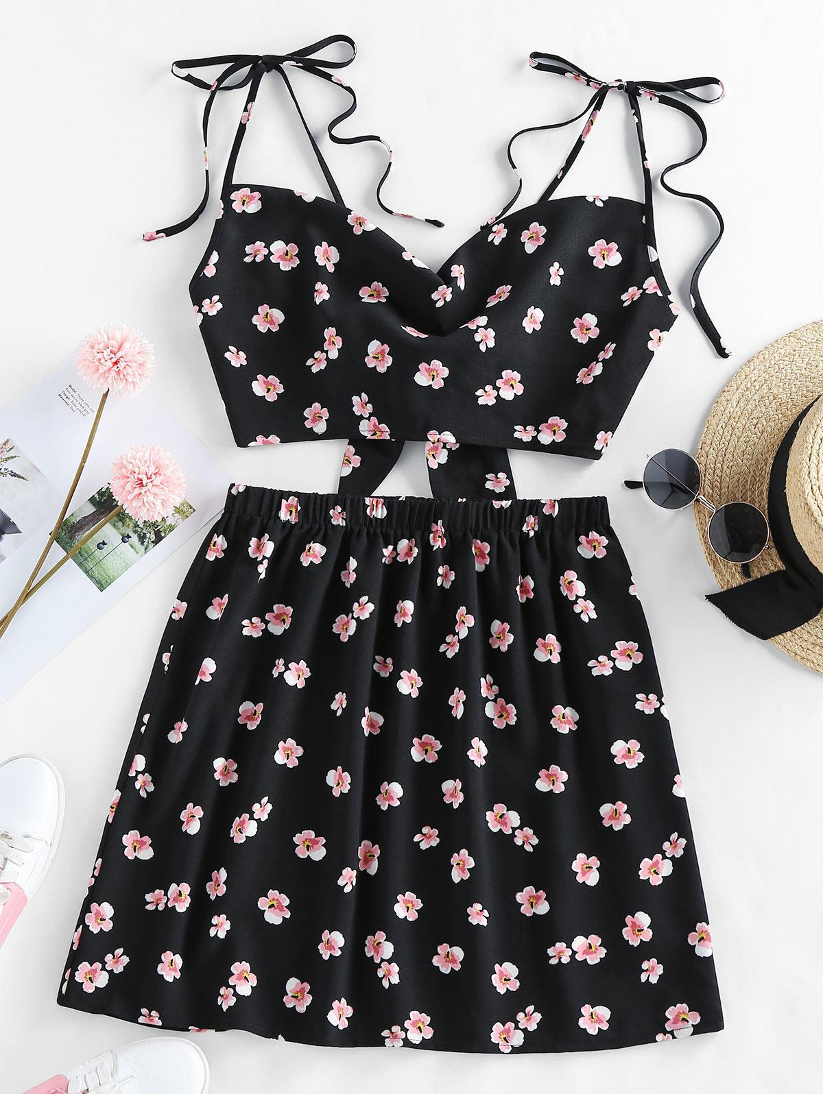 ZAFUL Floral Tie Shoulder Bowknot Back Mini Skirt Set