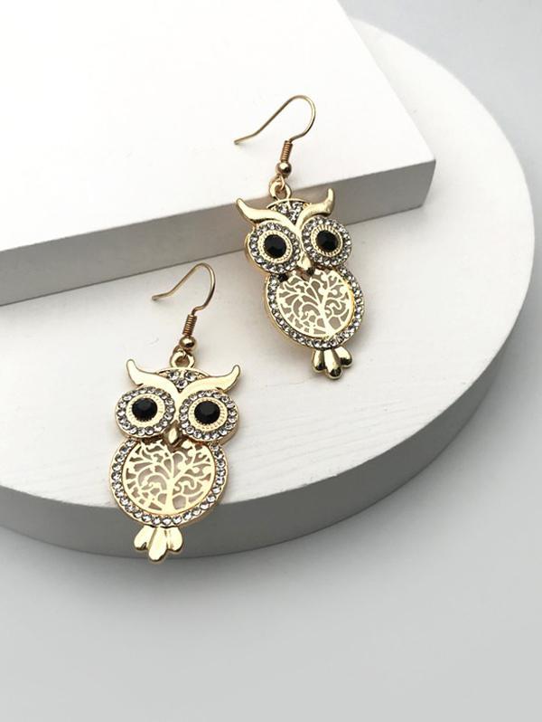 Rhinestone Hollow Out Owl Drop Earrings
