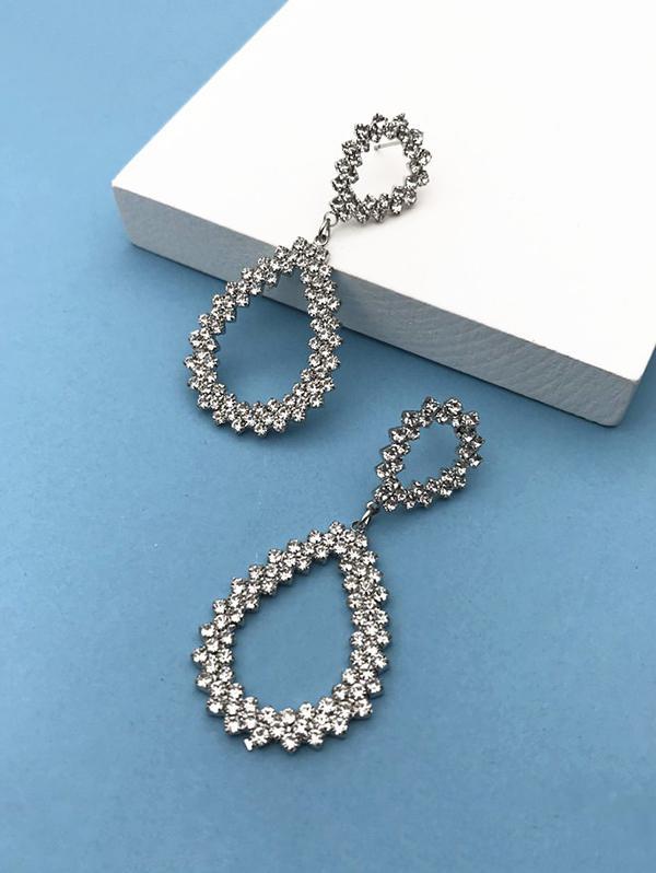 Waterdrop Pattern Rhinestone Earrings