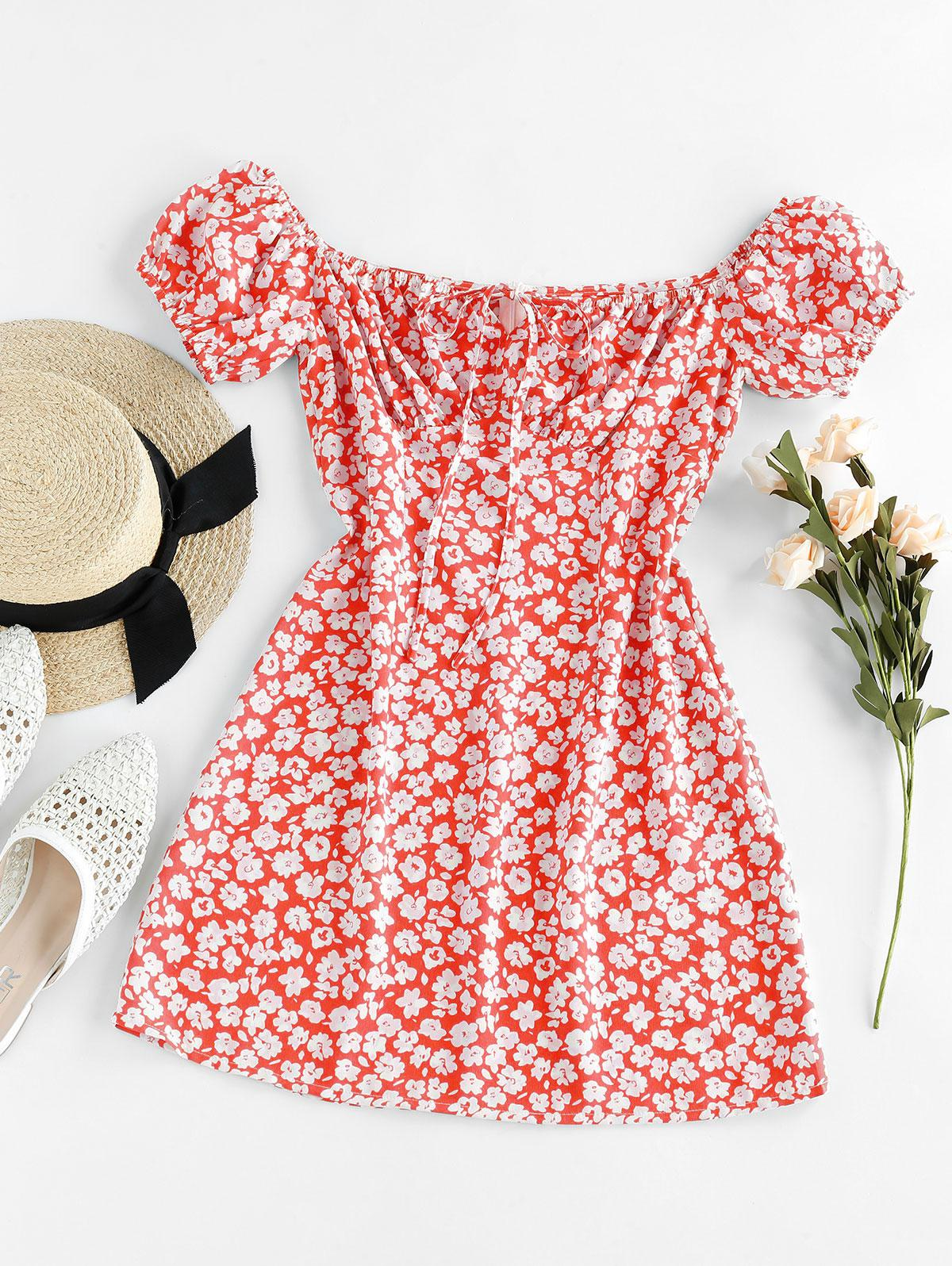 ZAFUL Ditsy Floral Off Shoulder Tie Dress