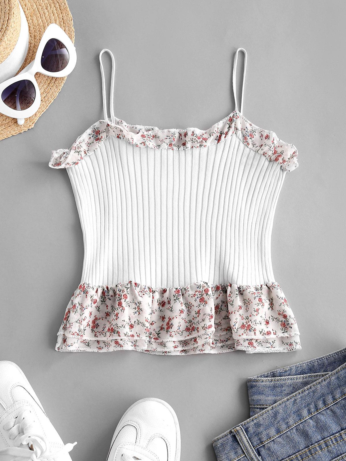 Flower Print Ribbed Peplum Cami Tank Top