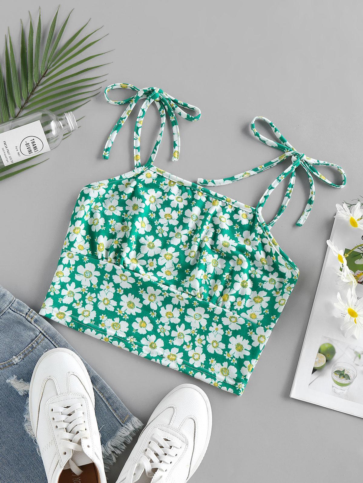 ZAFUL Floral Print Crop Cami Top