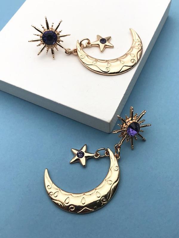 Sun Moon Star Shape Faux Gem Drop Earrings
