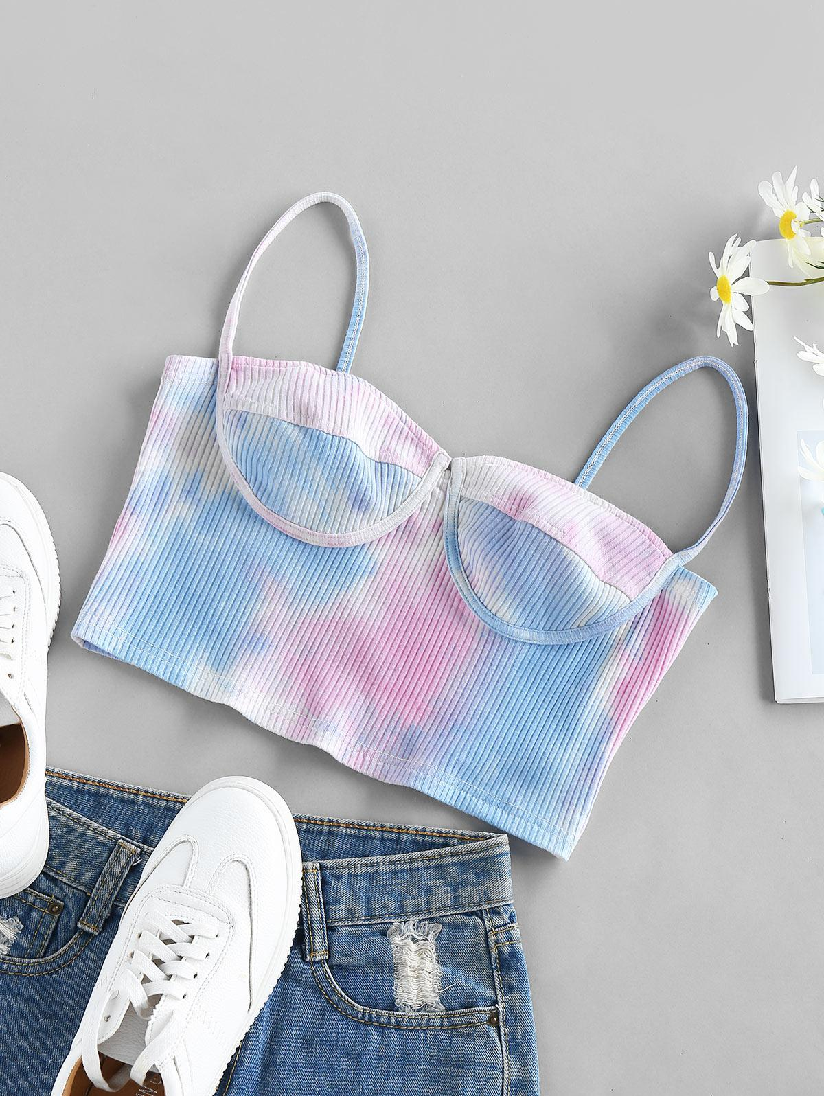 ZAFUL Ribbed Tie Dye Cupped Crop Cami Top
