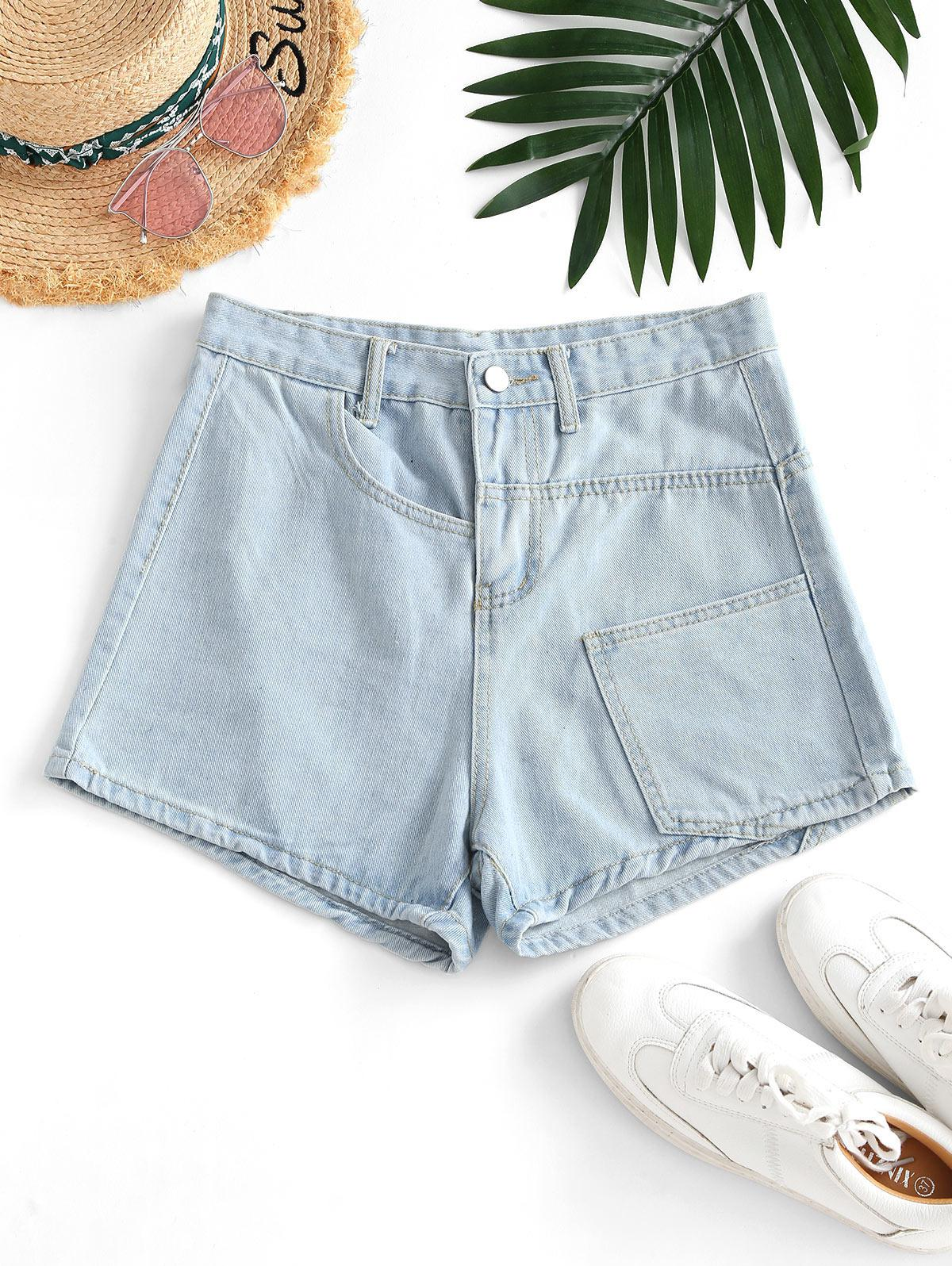 Pocket High Waisted Loose Denim Shorts
