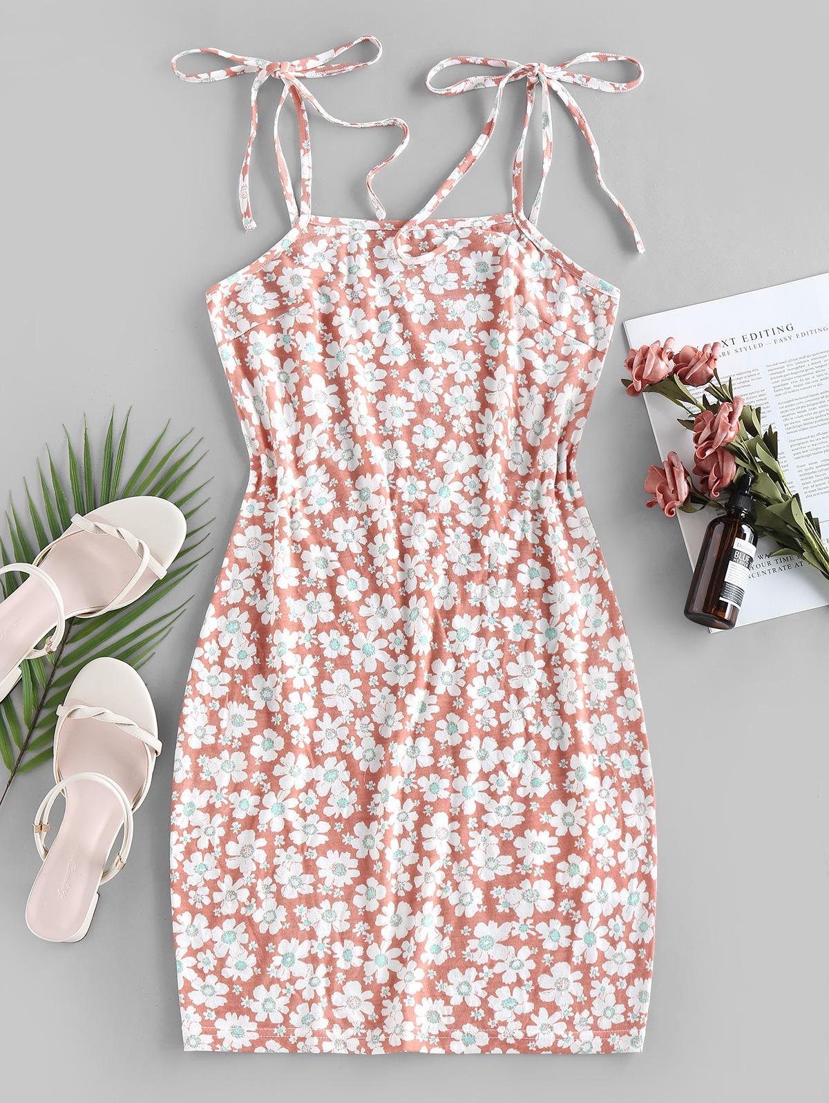 ZAFUL Flower Print Tie Shoulder Bodycon Dress