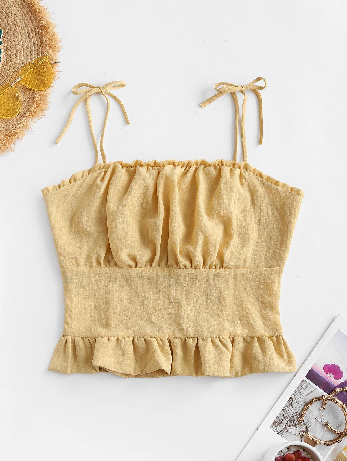 Tie Ruffle Ruched Shirred Back Cami Top