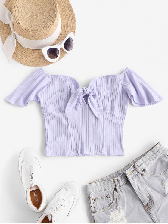 Off Umăr înnodate flutter Sleeve Crop Top - lumina violet M