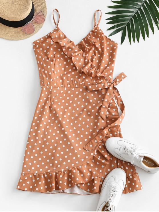 fancy Polka Dot Ruffles Wrap Mini Dress - LIGHT COFFEE L