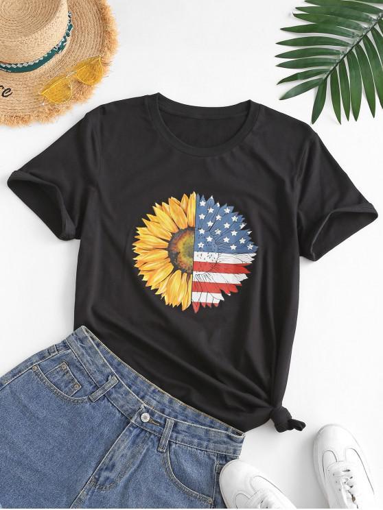 Camiseta Estampado Bandera Americana Divertido - Negro M