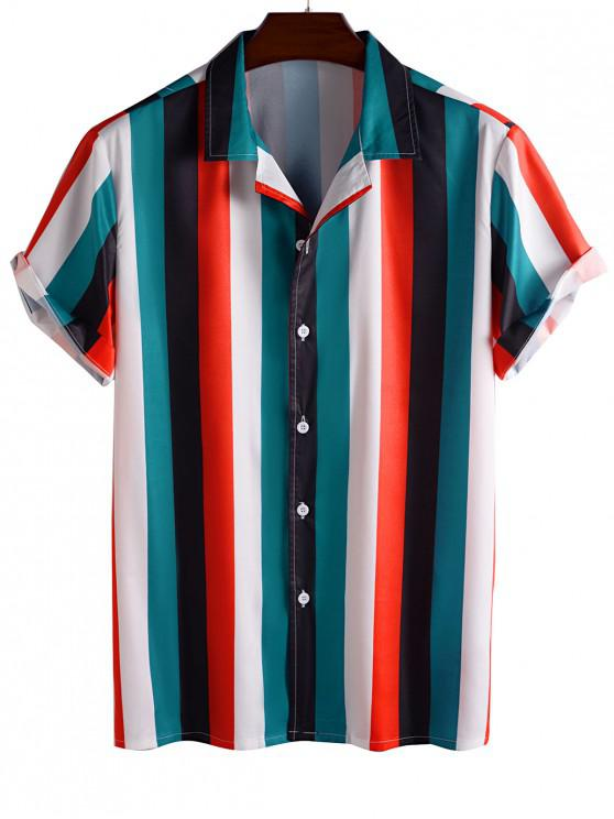 affordable Color Blocking Stripes Button Up Shirt - RED L