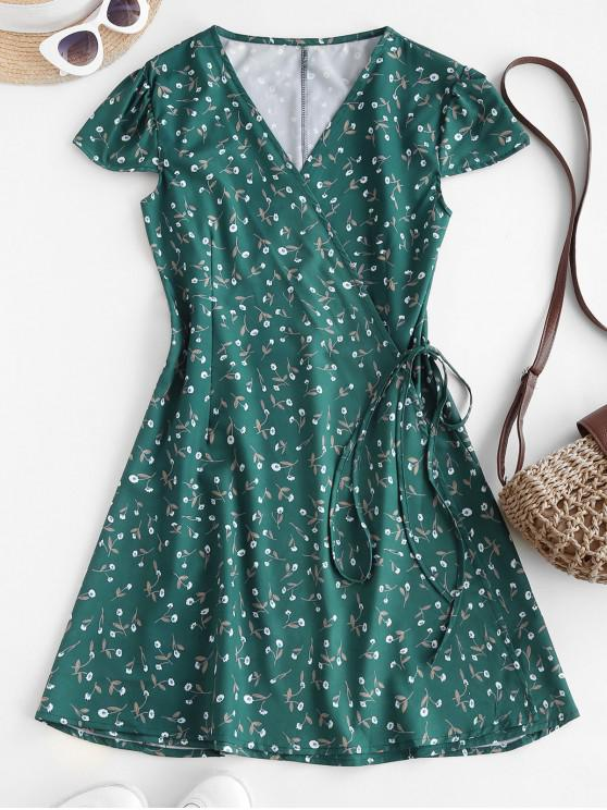 affordable Ditsy Floral Cap Sleeve Mini Wrap Dress - DEEP GREEN S