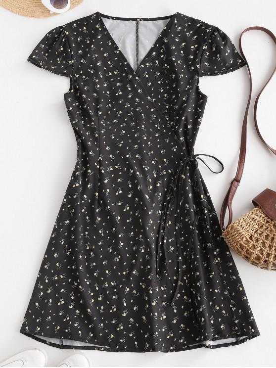 latest Ditsy Floral Cap Sleeve Mini Wrap Dress - BLACK S