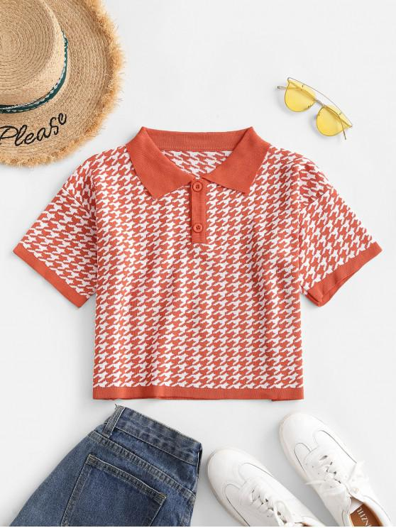 best Two Buttoned Houndstooth Knitted Tee - ORANGE ONE SIZE