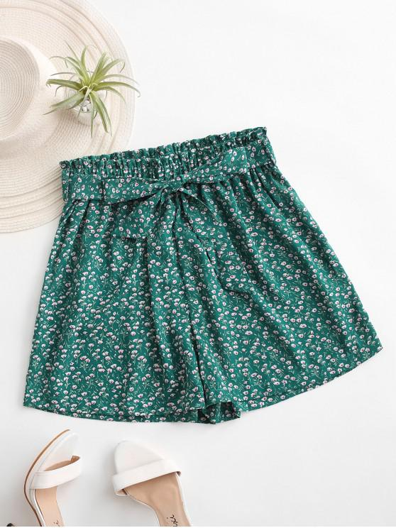 chic Ditsy Print Paperbag Shorts - GREEN S