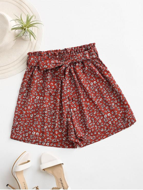 best Ditsy Print Paperbag Shorts - RED XL