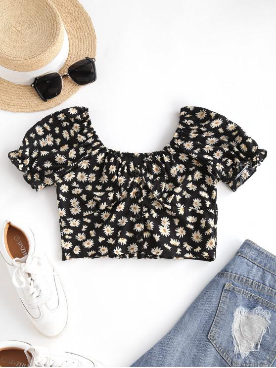 Daisy Floral Puff Sleeve Crop Smocked Blouse - أسود M