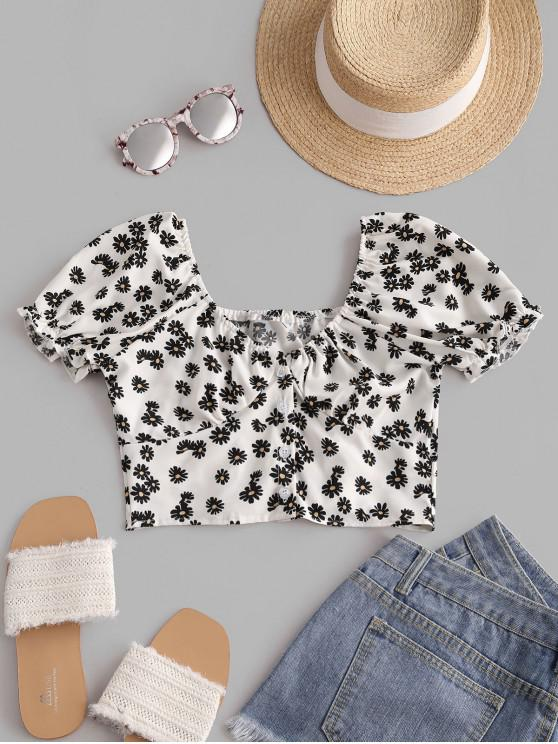 Daisy Floral Puff Sleeve Crop Smocked Blouse - أبيض M