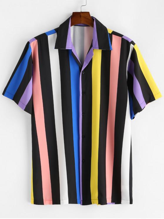 best Button Up Colored Stripes Shirt - BLACK XL