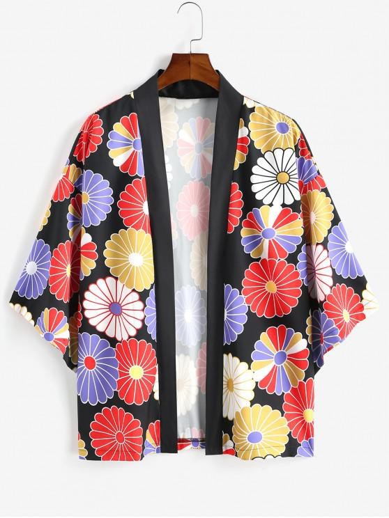 women Colorful Flower Print Open Front Kimono Cardigan - LAVA RED XL