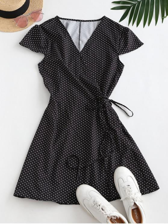 new Polka Dot Cap Sleeve Wrap Dress - BLACK M