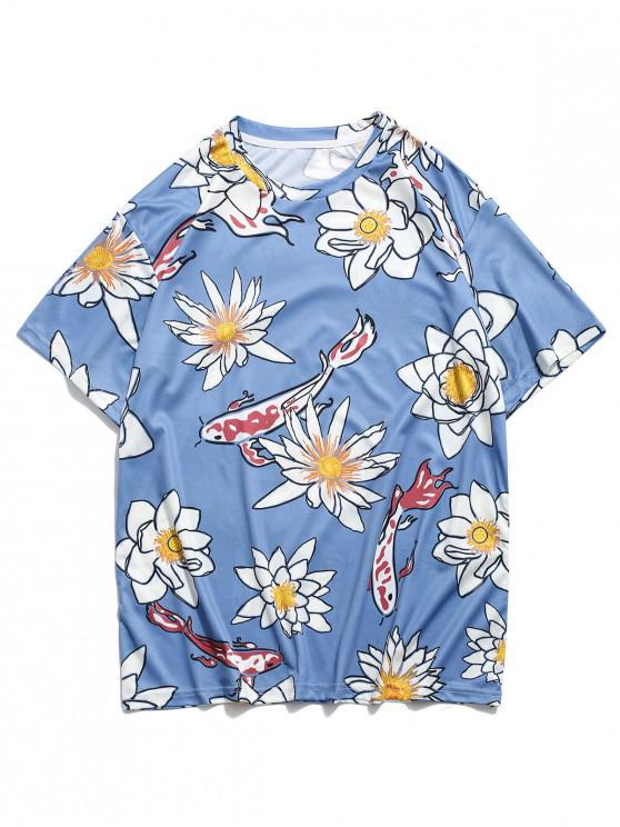 sale Flower and Fish Print Round Neck T-shirt - BLUE M