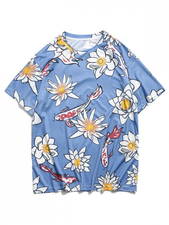 Flower and Fish Print Round Neck T-shirt - أزرق 3XL