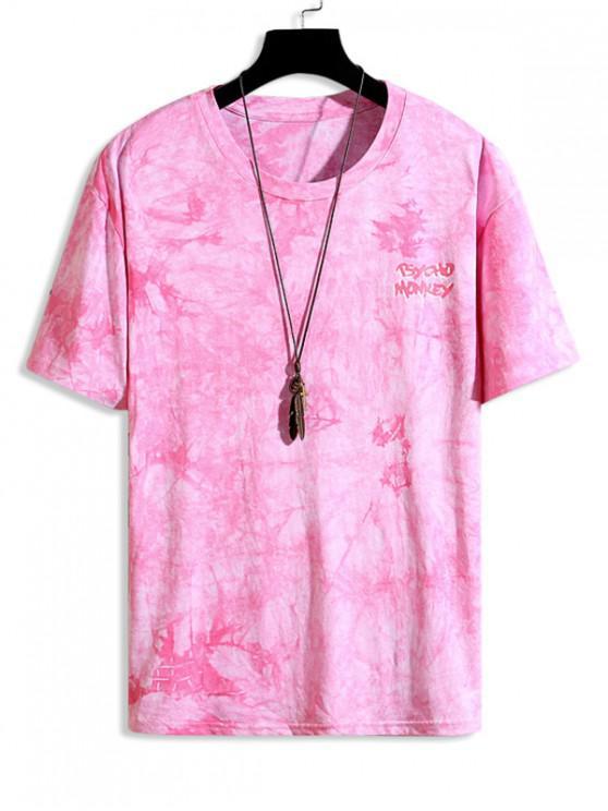 Tie Dye Star Graphic Drop Shoulder Crew Neck T Shirt - النيون الوردي XS