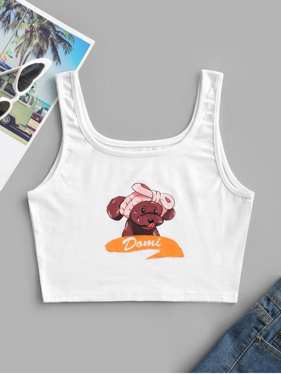 outfits Dog Graphic Cropped Tank Top - WHITE L