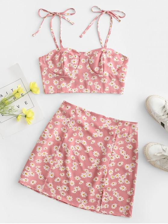latest Floral Tie Smocked Bustier Two Piece Dress - LIGHT PINK M