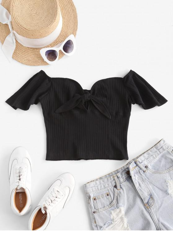 Off Shoulder Knotted Flutter Sleeve Crop Top - أسود S